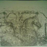 Снимка на каменната икона на свети Георги, вградена зад чудотворната